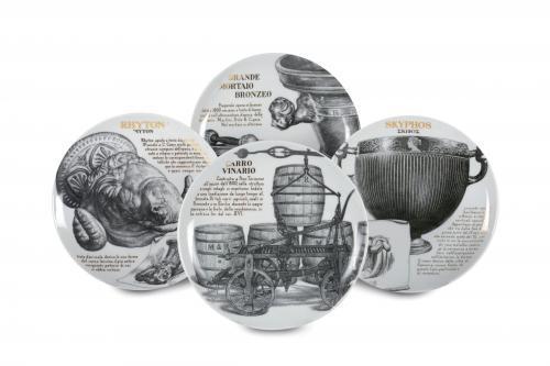 Four Piero Fornasetti rare plates