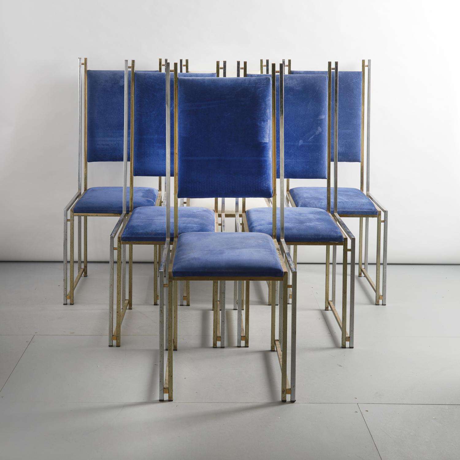 Six chrome and brass chairs