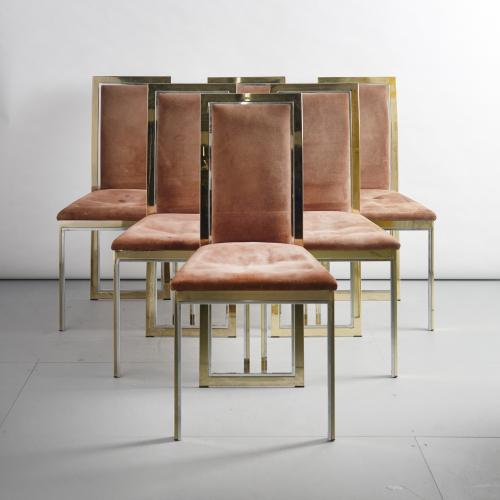 Six brass and chrome chairs