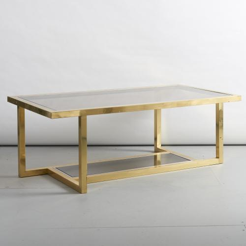 Coffee table in brass and chrome