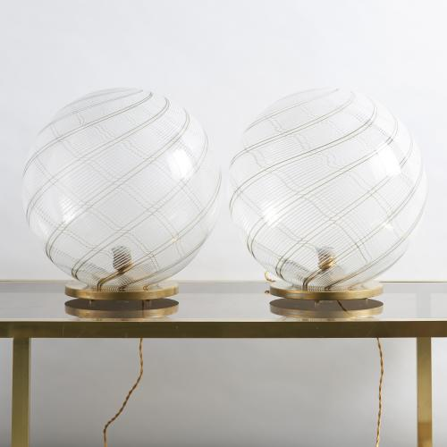 Pair of Venini ball table lamps