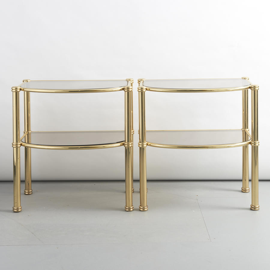 Pair of brass side tables