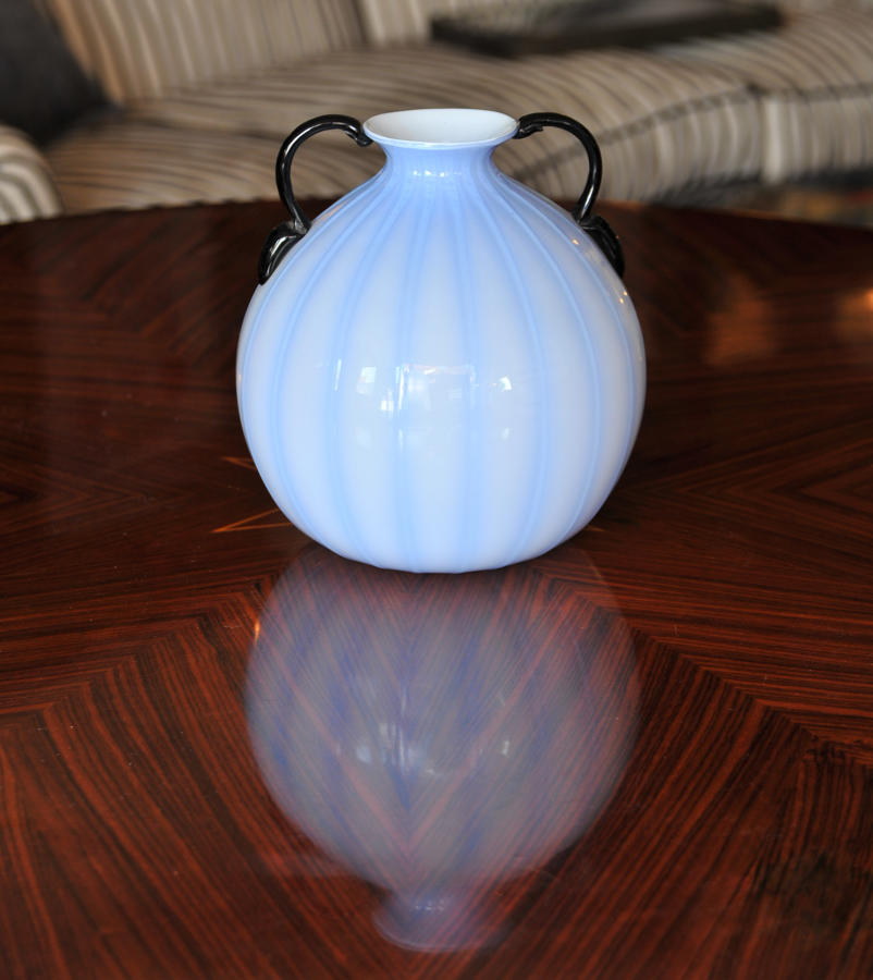 Rare blue vase with black handles
