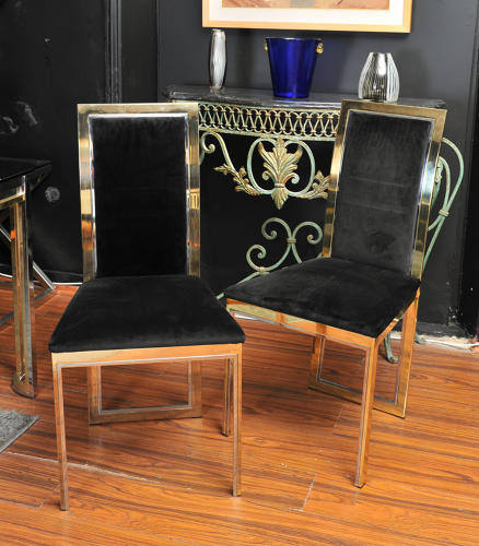 Brass and chrome chairs