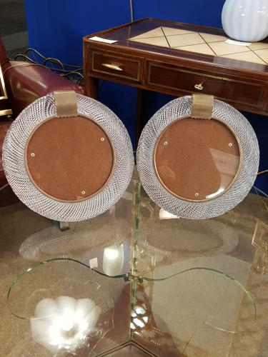 Pair of round Barovier & Toso photoframes