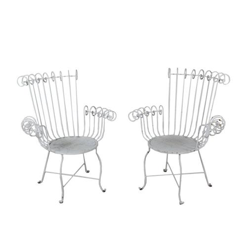 Pair of lacquered iron garden chairs