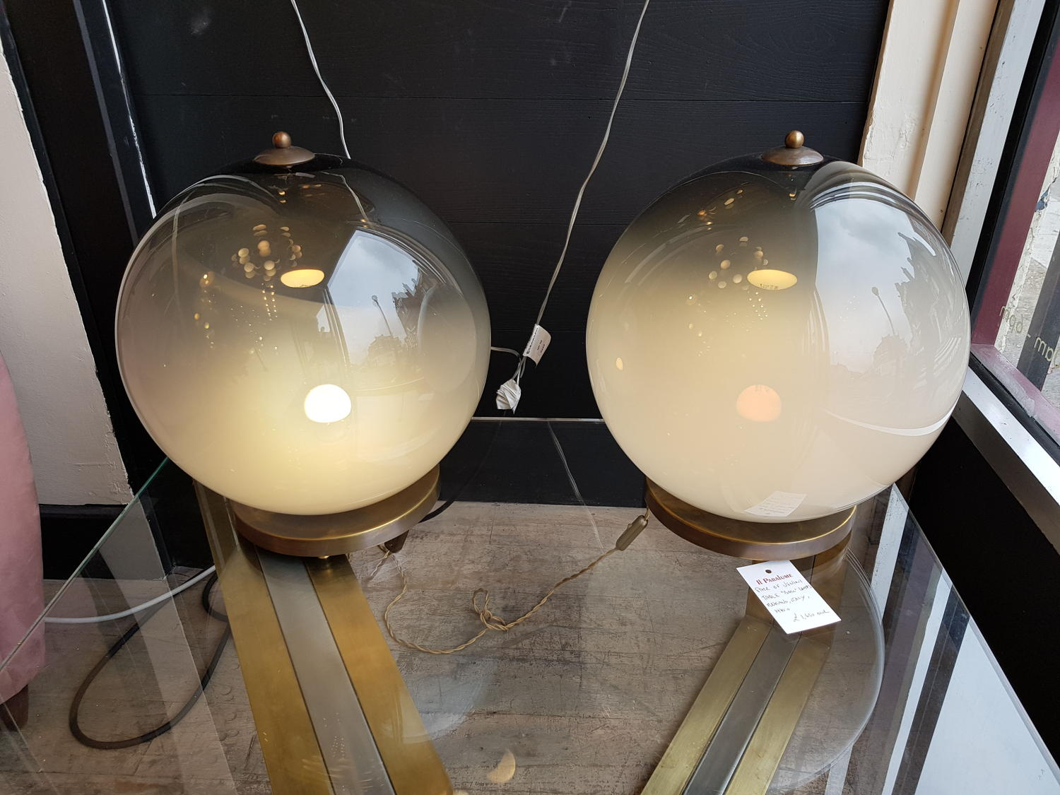 Pair of Venini ball lamps
