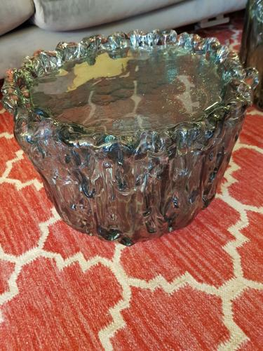 Murano glass side tables with light inside