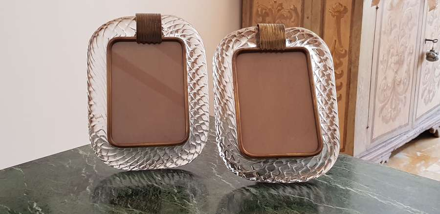 Pair of crystal Barovier & Toso photoframes