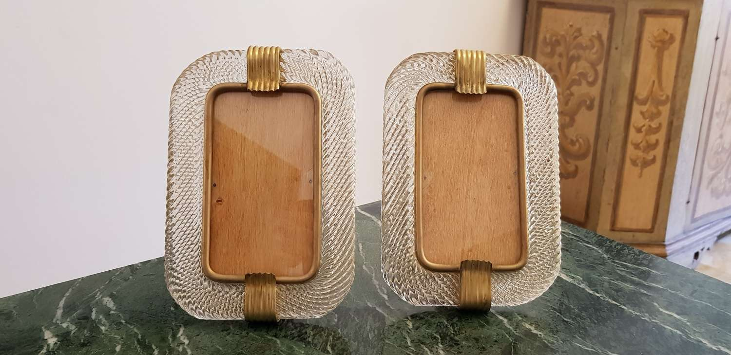 Rare pair of Barovier & Toso photo frames