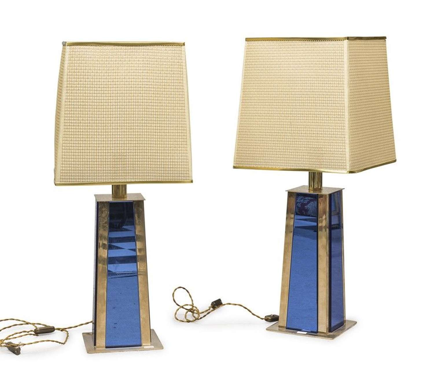 Pair of Janetti mirrored table lamps